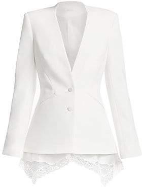 Jonathan Simkhai Women's Lace Trim Crepe Basque Jacket - Size 0