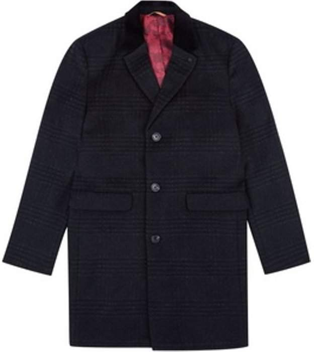 Womens **Burton Black and Grey Checked Faux Wool Chesterfield Overcoat