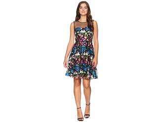 Tahari ASL Mesh Embroidered Party Dress