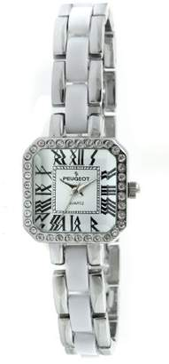 Peugeot Women's 7072WT Acrylic Link Crystal Accented Silver-tone White Watch