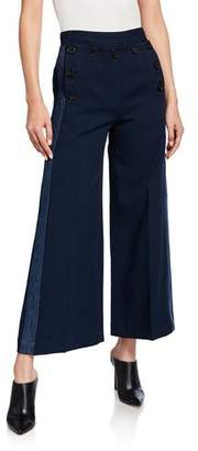 Derek Lam 10 Crosby Side-Stripe Culottes with Sailor Buttons