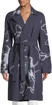 Lafayette 148 New York Dina Desert Bloom Textured Trench Coat