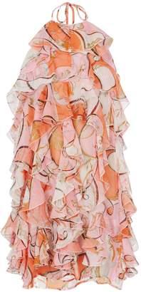 Emilio Pucci Ruffle Multicolor Halter Dress