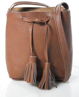 Designer Brown Pebbled Leather Round Drawstring Tassle Small Bucket Shoulder Bag