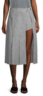 Sandy Liang Pleated Plaid Asymetrical Skirt