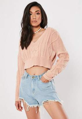 0aba5f5027b990 Missguided Pink V Neck Cable Knit Cropped Sweater