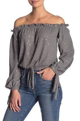 Vintage Havana Metallic Star Off-the-Shoulder Blouse