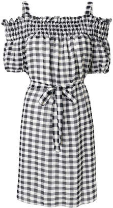 Moschino gingham cold shoulder mini dress