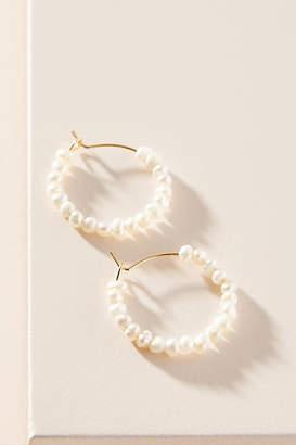 Anthropologie Pearl Hugger Hoop Earrings