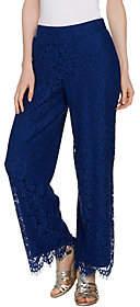 Isaac Mizrahi Live! Regular Floral Lace WideLeg Pants