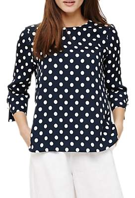 Phase Eight Bettie Large Spot Cuff Detail Blouse, Navy/White