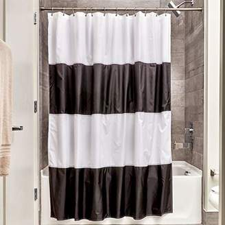 InterDesign Unisex Zeno Waterproof Fabric Shower Curtain Black/White