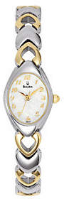 Bulova Women's Two-tone Bracelet Watch with White Dial $175 thestylecure.com