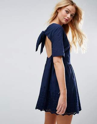 Asos Broderie Smock mini dress with Open Back Detail