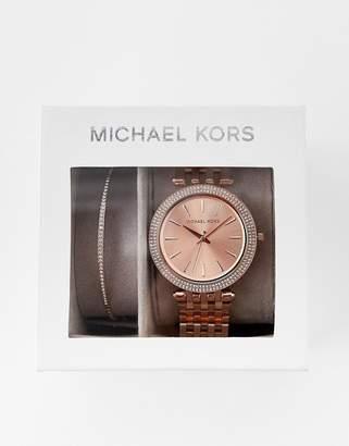 Michael Kors Darci rose gold watch and bracelet gift set MK3715