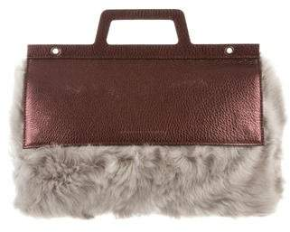 Brunello Cucinelli Metallic Shearling-Trimmed Bag