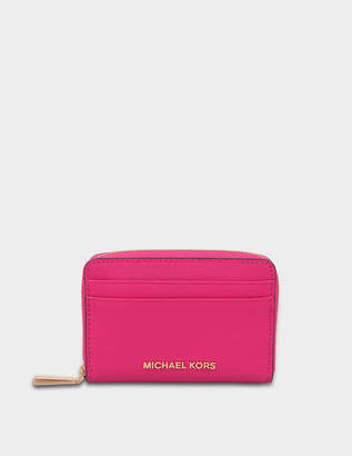 MICHAEL Michael Kors Jet Set Travel Zip Around Card Case in Ultra Pink Saffiano Leather