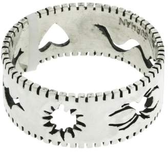 Gurhan 925 Sterling Silver Edge Stencil, Spider, Snake, Heart, Bat & Sun Band Ring Size 11.75