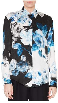 Off-White Off White Floral Printed Silk Blouse