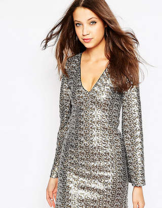 Asos Tall TALL Sequin Dress with Flared Sleeve
