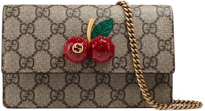GG Supreme mini bag with cherries