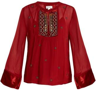 Velvet by Graham & Spencer Becky Embellished Chiffon Blouse - Womens - Red
