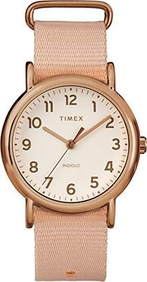 Timex Ladies Weekender Cream Dial with a Pink Nylon Strap Watch TW2R59600