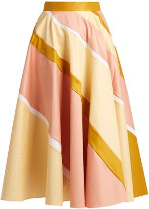 ROKSANDA Striped cotton-blend A-line skirt $1,149 thestylecure.com
