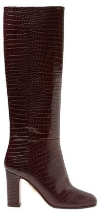Aquazzura Brera Crocodile Effect Leather Knee High Boots - Womens - Burgundy