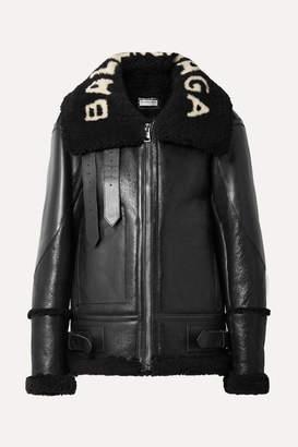 Balenciaga Le Bombardier Oversized Shearling Jacket - Black