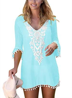 Actloe Women's Tassel Beach Swimwear Front Crochet Pom Pom Trim Tunic Swimsuit Cover up Dress Light Blue Large