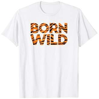 Mens Born Wild T Shirt Tiger Print Big Cat Jungle Africa Sport