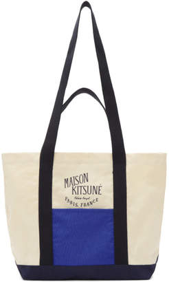 MAISON KITSUNÉ (メゾンキツネ) - Maison Kitsune オフホワイト and ブルー スモール カラーブロック ショッピング バッグ