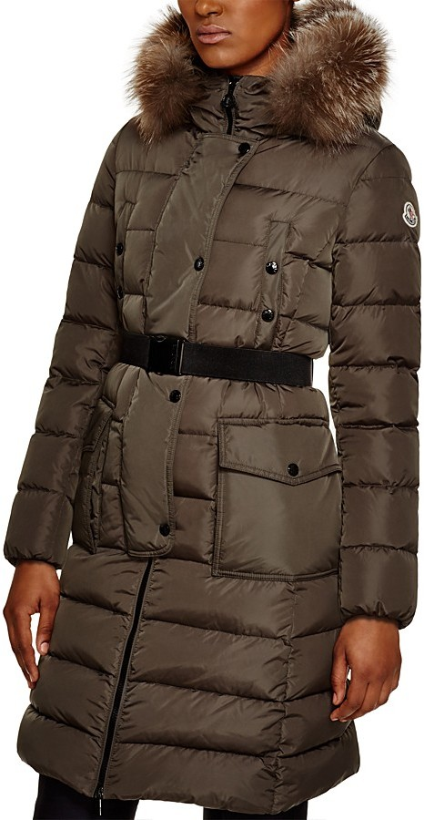MonclerMoncler Khloe Belted Fox Fur Hood Long Down Coat