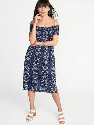 Old Navy Smocked Off-the-Shoulder Slub-Weave Midi for Women