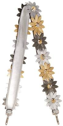 Fendi Strap You Flower Embellished Leather Bag Strap - Womens - Gold Multi