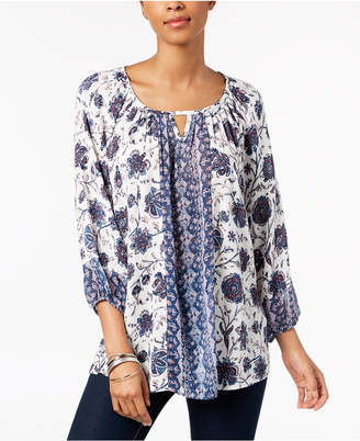 Style&Co. Style & Co Petite Mixed-Print Keyhole Top, Created for Macy's