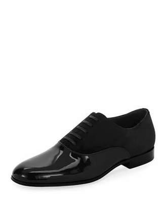 Gianvito Rossi Vittorio Patent Leather & Suede Lace-Up Shoe, Black