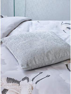 Harlequin Cranes in Flight Cushion, Silver