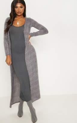 PrettyLittleThing Grey Eyelash Knit Maxi Cardigan