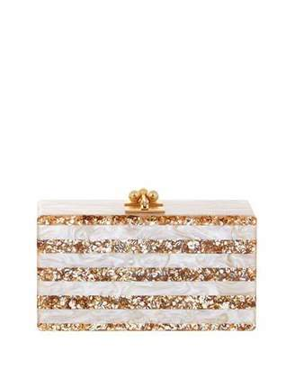Edie Parker Jean Confetti-Striped Box Clutch Bag, Nude/Sand $1,195 thestylecure.com