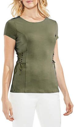 Vince Camuto Short-Sleeve Lace-Up Top