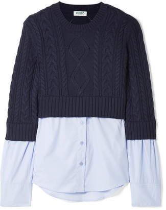 Kenzo Layered Cable-knit Wool And Cotton-poplin Sweater - Blue