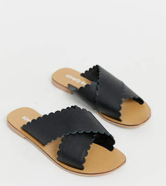 Simply Be Wide Fit Simply Be wide fit leather sliders with scallop trim in black