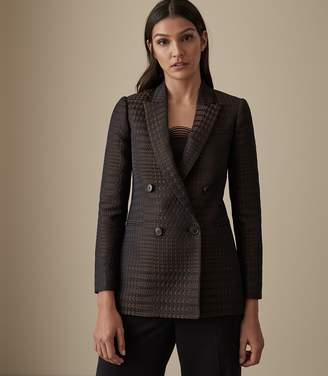 Reiss Our last order date for Christmas has now passed CALI HOUNDSTOOTH CHECK BLAZER Brown