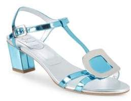 Roger Vivier Metallic Leather T-Strap Sandals