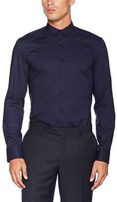Eterna Men's Slim Fit Langarm Uni Mit Mini Button-Down-Kragen Formal Shirt
