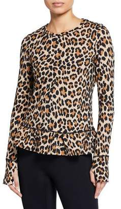 Kate Spade Leopard-Print Long-Sleeve Flounce Top