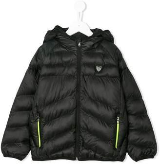 Ea7 Kids neon zip padded jacket