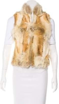 Adrienne Landau Fur Stand Collar Vest